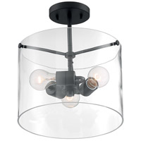 Nuvo 60/7278 Sommerset 3 Light 12 inch Matte Black Semi Flush Mount Fixture Ceiling Light