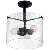Nuvo 60/7288 Bransel 3 Light 12 inch Matte Black Semi Flush Mount Fixture Ceiling Light