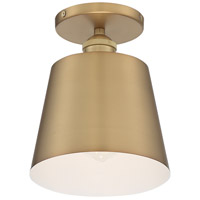Nuvo 60/7321 Motif 1 Light 7 inch Brushed Brass and White Accents Semi Flush Mount Fixture Ceiling Light