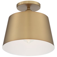 Nuvo 60/7322 Motif 1 Light 10 inch Brushed Brass and White Accents Semi Flush Mount Fixture Ceiling Light