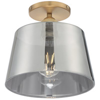 Nuvo 60/7324 Motif 1 Light 10 inch Brushed Brass and Smoked Glass Semi Flush Mount Fixture Ceiling Light