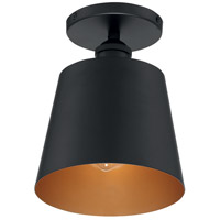 Nuvo 60/7331 Motif 1 Light 7 inch Black and Gold Accents Semi Flush Mount Fixture Ceiling Light