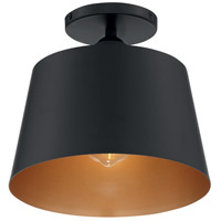 Nuvo 60/7332 Motif 1 Light 10 inch Black and Gold Accents Semi Flush Mount Fixture Ceiling Light
