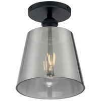 Nuvo 60/7333 Motif 1 Light 7 inch Black and Smoked Glass Semi Flush Mount Fixture Ceiling Light