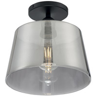 Nuvo 60/7334 Motif 1 Light 10 inch Black and Smoked Glass Semi Flush Mount Fixture Ceiling Light
