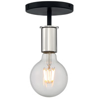 Nuvo 60/7353 Ryder 1 Light 5 inch Black and Polished Nickel Semi Flush Mount Fixture Ceiling Light