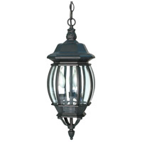 Central Park 3 Light 7 inch Textured Black Outdoor Hanging Lantern