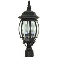 Central Park 3 Light 21 inch Textured Black Outdoor Post Lantern
