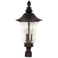 Parisian 3 Light 27 inch Textured Black Outdoor Post Lantern