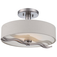 Wave LED 16 inch Brushed Nickel Semi Flush Mount Ceiling Light
