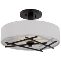 Nuvo 62/119 Stix LED 15 inch Patina Bronze and White Semi Flush Mount Ceiling Light