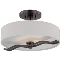 Wave LED 16 inch Hazel Bronze Semi Flush Mount Ceiling Light