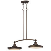 Nuvo Lighting Houston 2 Light Pendant in Rustic Brass 62/163