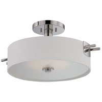 Nuvo 62/194 Claire LED 19 inch Polished Nickel Semi Flush Ceiling Light