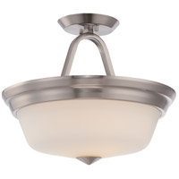 Nuvo 62/364 Calvin LED 13 inch Brushed Nickel and Satin White Semi Flush Mount Ceiling Light