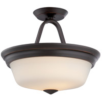 Nuvo 62/374 Calvin LED 13 inch Mahogany Bronze and Satin White Semi Flush Mount Ceiling Light