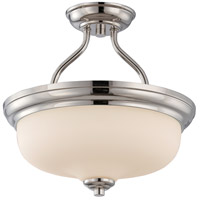 Nuvo 62/384 Kirk LED 13 inch Polished Nickel and Etched Semi Flush Mount Ceiling Light