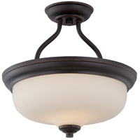 Nuvo 62/394 Kirk LED 13 inch Mahogany Bronze and Etched Semi Flush Mount Ceiling Light