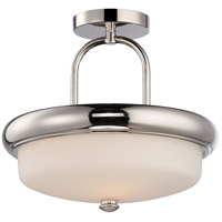 Nuvo 62/404 Dylan LED 13 inch Polished Nickel and Satin White Semi Flush Mount Ceiling Light