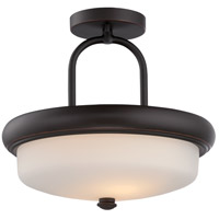 Nuvo 62/414 Dylan LED 13 inch Mahogany Bronze and Satin White Semi Flush Mount Ceiling Light