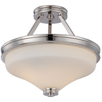 Nuvo 62/424 Cody LED 13 inch Polished Nickel and Satin White Semi Flush Mount Ceiling Light
