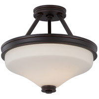 Nuvo 62/434 Cody LED 13 inch Mahogany Bronze and Satin White Semi Flush Mount Ceiling Light
