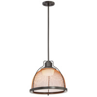 Tex LED 13 inch Dark Bronze with Copper mesh Pendant Ceiling Light