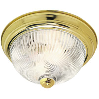 Ribbed Swirl Glass 2 Light 11 inch Polished Brass Flush Mount Ceiling Light