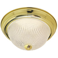 Nuvo Lighting Ribbed Ice Glass 2 Light Flush Mount in Polished Brass 76/094