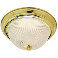 Nuvo Lighting Ribbed Ice Glass 2 Light Flush Mount in Polished Brass 76/095