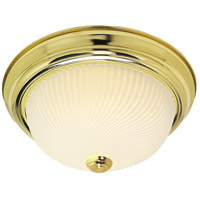 Nuvo Lighting Ribbed Swirl Glass 3 Light Flush Mount in Polished Brass 76/097