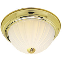 Nuvo SF76/126 Melon Glass 2 Light 13 inch Polished Brass Flush Mount Ceiling Light
