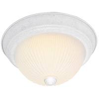 Ribbed Glass 2 Light 13 inch Textured White Flush Mount Ceiling Light