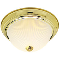 Ribbed Glass 3 Light 15 inch Polished Brass Flush Mount Ceiling Light