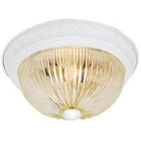 Ribbed Glass 2 Light 11 inch Textured White Flush Mount Ceiling Light