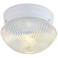 Ribbed Mushroom Glass 1 Light 8 inch White Flush Mount Ceiling Light