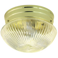 Ribbed Mushroom Glass 2 Light 10 inch Polished Brass Flush Mount Ceiling Light