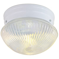 Ribbed Mushroom Glass 2 Light 10 inch White Flush Mount Ceiling Light