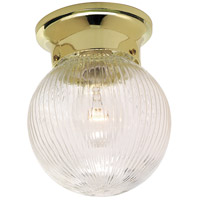 Signature 1 Light 6 inch Polished Brass Semi Flush Mount Ceiling Light