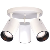 Straight Cylinder 3 Light 14 inch White Semi Flush Mount Ceiling Light