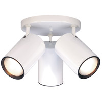 Straight Cylinder 3 Light 18 inch White Semi Flush Mount Ceiling Light