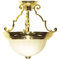 Signature 2 Light 13 inch Polished Brass Semi Flush Mount Ceiling Light