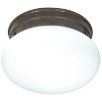Nuvo Lighting White Mushroom Glass 1 Light Flush Mount in Old Bronze 76/600