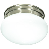 Nuvo Lighting White Mushroom Glass 1 Light Flush Mount in Brushed Nickel 76/601