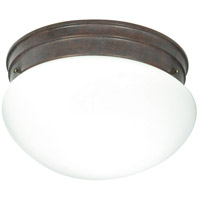 Nuvo Lighting White Mushroom Glass 2 Light Flush Mount in Old Bronze 76/602