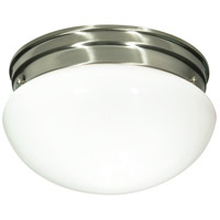 Nuvo Lighting White Mushroom Glass 2 Light Flush Mount in Brushed Nickel 76/603
