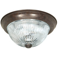 Ribbed Glass 3 Light 15 inch Old Bronze Flush Mount Ceiling Light