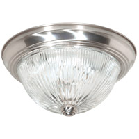 Ribbed Glass 2 Light 11 inch Brushed Nickel Flush Mount Ceiling Light