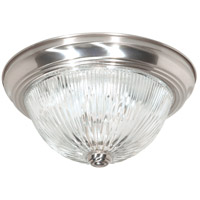 Ribbed Glass 3 Light 15 inch Brushed Nickel Flush Mount Ceiling Light