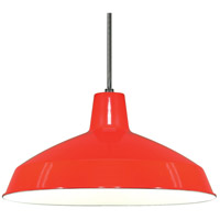 Warehouse Aluminum 1 Light 16 inch Red Pendant Ceiling Light